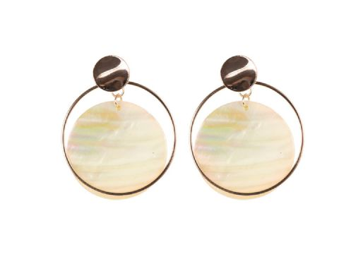 CLAIRE DISC SHELL EARRINGS ROSE GOLD